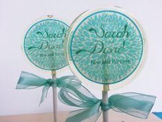 Teal Wedding Favors, Personalized, Candy Lollipop, Edible Images, Lollipops, Party Favors, Sweet Caroline Confections- SIX LOLLIPOPS