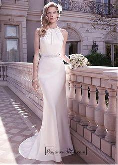 Beautiful Elegant Stretch Charmeuse Sheath High Collar Neckline Natural Waist Wedding Dress - Buyanewdress.com