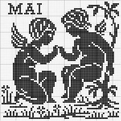Month 05 | Free chart for cross-stitch, filet crochet | Chart for pattern - Gráfico