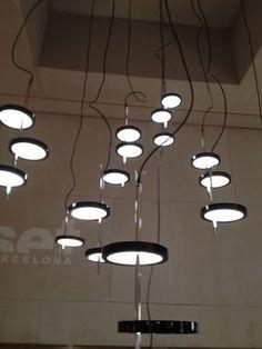 "Nenufar, or ""water lily"", designed by Joan Gaspar for Marset. Futuristic Lighting, Pendant Lights, Lamp Light, Lighting Design, Lamps, Chandelier, Lily, Ceiling Lights, Flooring"