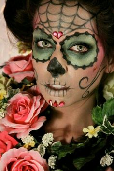 catrina, day of the dead makeup, sugar skull Sugar Scull, Sugar Skull Face, Sugar Skull Makeup, Yeux Halloween, Halloween Make Up, Scary Halloween, Vintage Halloween, Facepaint Halloween, Halloween Costumes