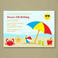 Beach Birthday Invitation Personalized Diy Printable Digital File