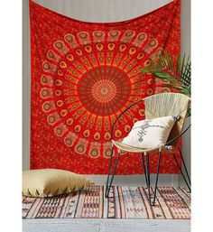 NEW RED MIRCHI HIPPIE MANDALA WALL HANGING TAPESTRY