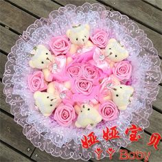 23.69$  Watch now - http://aliewr.shopchina.info/go.php?t=32606619379 - New Creative Teddy Bear Cartoon Bouquet Teddy Bear and Roses Bouquet.Best Price, Best Quality. Free Shipping  #buymethat