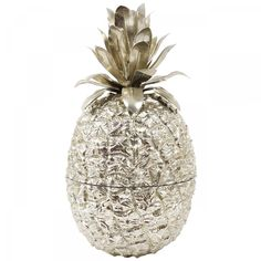 """A beautiful pineapple ice bucket in the style of Maro Manetti. Made in Italy in the 1970s. Made of silver metal and plastic, in excellent condition.  """"Vintagerie - the modernist showroom"""" in the Nelkengasse in Vienna, deals only with the most beautiful vintage design classics & modernist furniture. Create your wedding list with Boulesse.com and shop the Viennese craftsmanship and heritage…"""