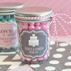 Personalized Bridal Shower Mini Mason Jars