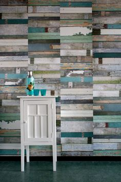 Scrapwood Wallpaper Green. $275.00, via Etsy.