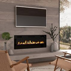Shop for Ultra Thin Electric Fireplace Insert, Wall Mounted/In Wall Easy Installation with remote control, Get free delivery On EVERYTHING* Overstock - Your Online Home Decor Outlet Store! Fireplace Tv Wall, Linear Fireplace, Fireplace Inserts, Fireplace Ideas, Wall Fireplaces, Fireplace Feature Wall, Fireplace Mounted Tv, Fireplaces With Tv Above, Basement Fireplace