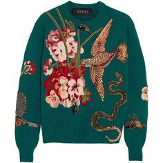 Gucci Embroidered wool sweater ($5,890) ❤ liked on Polyvore featuring tops, sweaters, blue, colorful sweaters, embroidered sweaters, bird sweater, blue sweater and metallic sweater
