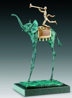 Salvador Dali. Triumfalny elephant. Bronze with green patina, polished bronze and stone. 1975
