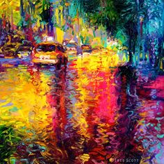 Colorful Impressionistic Oil Finger Paintings by Iris Scott