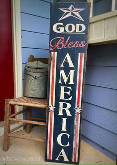 Items similar to Wooden Sign - God Bless America - Vertical - American Flag - USA - Patriotic - Red White Blue - Rustic - Pallet - Porch Decor - on Etsy Fourth Of July Decor, 4th Of July Decorations, July 4th, Pallet Crafts, Pallet Art, Pallet Signs, Pallet Quotes, Diy Pallet, Pallet Projects