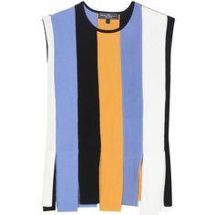 Salvatore Ferragamo Virgin Wool Top (37.545 RUB) ❤ liked on Polyvore featuring tops, multicoloured, colorful tops, blue top, multi color tops and salvatore ferragamo