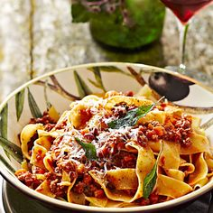 Pappardelle with Bolognese Sauce   Williams-Sonoma entree, pasta idea, wide ribbon pasta