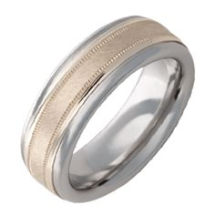 Serinium® Pipe Cut Band with Gold Inlay with Florentine Finish and Milgrain Texture — Jewelry Innovations Wedding Bands For Him, Wedding Rings, Fashion Rings, Gemstone Jewelry, Jewelry Collection, Diamond Earrings, Rings For Men, Engagement Rings, Gemstones