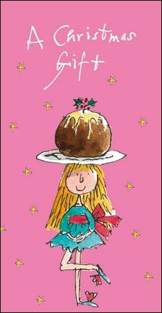 Girl balancing pudding on her head, money wallet by . The greeting inside reads Happy Christmas. Quentin Blake Illustrations, Tony Ross, Roald Dahl Books, Vintage Illustration Art, Congratulations And Best Wishes, Xmas Wishes, Christmas Pudding, Typography Prints, Scribble