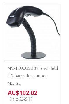 NC-1200USBB Hand Held 1D barcode scanner Nexa nc-1200 Usb Black