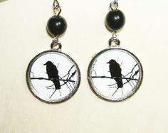 BIRD ON A BRANCH EARRINGS - art jewelry for you