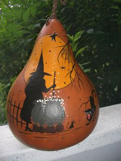 Halloween Witch Vintage Style Gourd Hand Painted Folk Art Primitive
