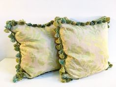 Vintage missy green silk pillows with tassel trim  PKL THE CELLAR