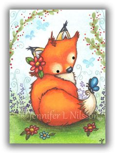 Little Fox in the Garden  ACEO open edition PRINT.    Based on my original watercolor ACEO by the same title and printed here in the studio using