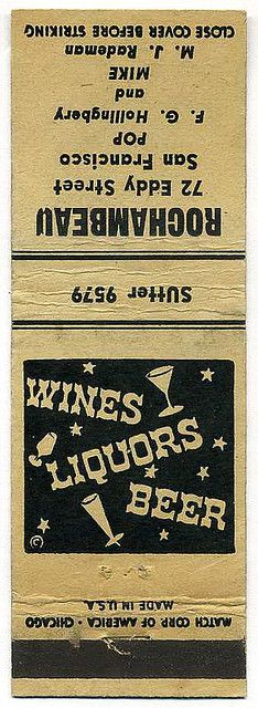 Rochambeau Wines, Liquors, Beer #frontstriker #matchbook cover To design & order your logo'd #matches GoTo: www.GetMatches.com Today!