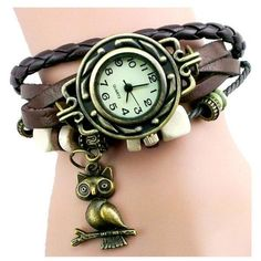 Vintage Leather Braided Wrist Watch Bracelet with Beads Brown Strap... (£7.61) ❤ liked on Polyvore featuring jewelry, bracelets, chunky bangles, charm jewelry, beaded bangles, charm bangles and bead charms
