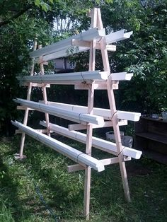 This A frame is growing strawberries.  It holds up to nine to 10 foot gutters ! - GardenWeb