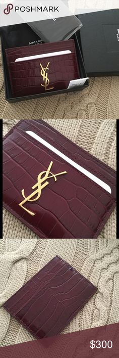 ❤️YSL Croc Embossed Card Holder❤️ Ysl card case in super rare gorgeous burgendy color. 100% authentic. $275 through️️including shipping&insurance ❌No Trade!!❌ Saint Laurent Bags Wallets