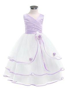 White/Lavender 3 Tier Tulle Skirt Flower Girl Dress - Flower Girl Dresses - GIRLS