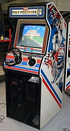 Pole Position II by Atari arcade game in an upright cabinet Vintage Video Games, Classic Video Games, Retro Video Games, Vintage Games, Childhood Toys, Childhood Memories, Retro Arcade Games, Pinball Games, Borne Arcade