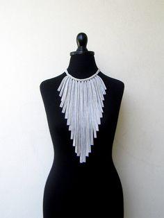 The flecos necklace - handmade in light grey sparkling jersey. $25.00, via Etsy.