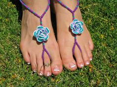 Hey, I found this really awesome Etsy listing at https://www.etsy.com/listing/189826668/purple-and-green-flower-barefoot-sandals