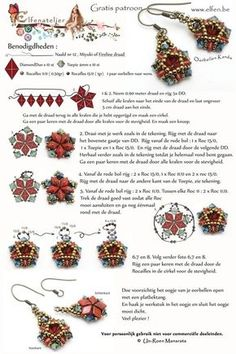 KANDA Earrings - FREE Pattern from elfen.be. Use: 10 DiamondDuos, 10 bicones 4mm, 0,5g seed beads 11/0 and 1g seed beads 15/0