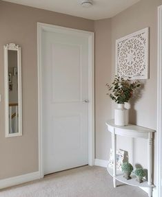 Stair Landing Decor, Staircase Landing, Stair Decor, Wall Decor, Dulux Natural Hessian, Dulux Paint Colours Neutral, Living Room Paint, Living Room Decor, Hallway Wall Colors