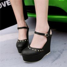High Quality Woman Round Toe Platform Wedge High Heel Rivet Pumps Female Ankle Strap Party Wedding Shoes Lady Black Red…