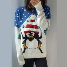 blue penguin ugly christmas sweater pullover christmas tree funny christmas jumpers for winter