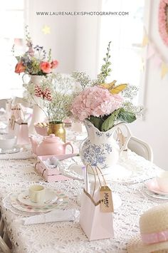 Tea Party Centerpieces, flowers in teapots Tea Party Birthday Party for a 5 year old little girl at a Photography Studio!: