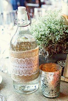 burlap + lace for vases
