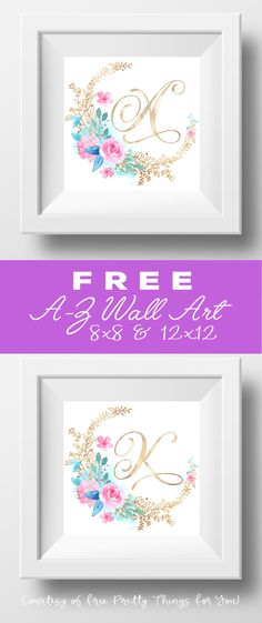 Free Printable Rose Wall Art A-Z (free art prints printable letters) Initial Wall Art, Monogram Wall Art, Letter Wall Art, Name Wall Art, Free Printable Monogram, Free Printable Art, Free Printables, Printable Letters, Art Wall Kids