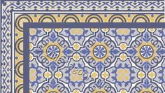 Amelia Border w/ Amelia Field Tile in Blues and Yellows and pale gray. A narrow band of deep blue adds definition. Villa Lagoon Tile