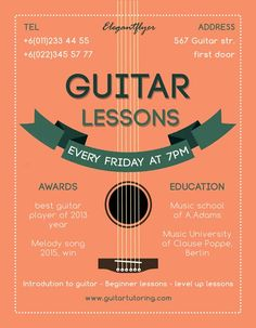 Guitar Lessons Free Flyer Template - http://freepsdflyer.com/guitar-lessons-free-flyer-template/ Enjoy downloading the Guitar Lessons Free Flyer Template created by Elegantflyer!   #Course, #Education, #Guitar, #Instrument, #Learning, #Lessons, #Music, #Party, #Retro, #Service, #Vintage
