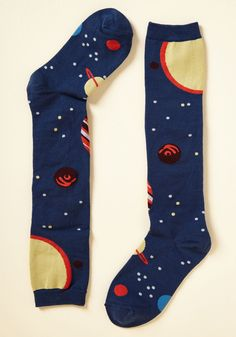 Planet of Action Socks. When youre looking to pick up the space, these knee-high socks put a pep in your step. Food Socks, Blue Socks, Colourful Outfits, Colorful Clothes, Knee High Socks, Fall Trends, Cute Woman, Sock Shoes, Modcloth