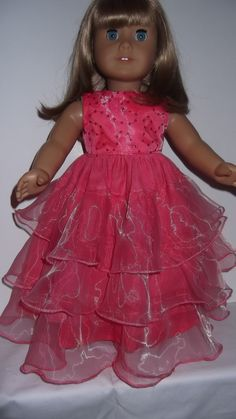 American Girl doll clothes   Coral Layered Gown by susiestitchit, $20.00