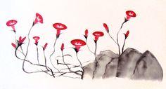 Campanitas en el aire, 2014. Sumi-e – Tinta sobre seda  en  soporte rígido. 50 x 27 Alesso, Antique China, Rice Paper, Silk, Ink, Art