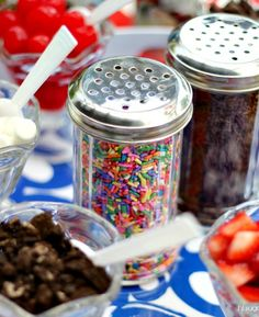 Ice Cream Sundae Bar: use shakers for toppings instead of bowls/spoons for little kids