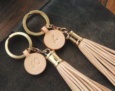 Leather Tassel Keychain Leather Keychain Key by permanentbaggage