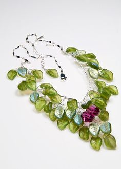 Green+Statement+Necklace+Flower+Necklace+by+CherylParrottJewelry,+$134.95