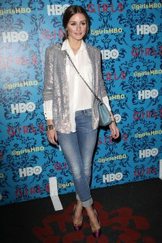 Olivia Palermo dresses up in denim with a sequin jacket and pretty cap-toe pumps