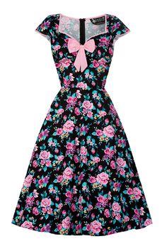 De sejeste Sort kjole med blomster i rosa 50 Modetøj til Damer i luksus kvalitet